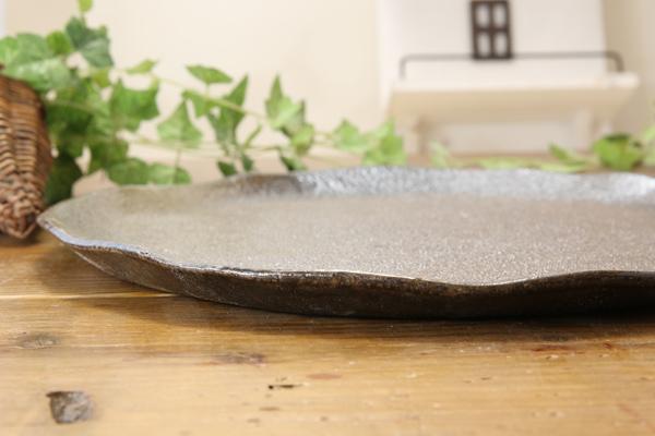 【益子焼】たたら作りのフラットなピザプレート【サイズ中】【単品1枚】