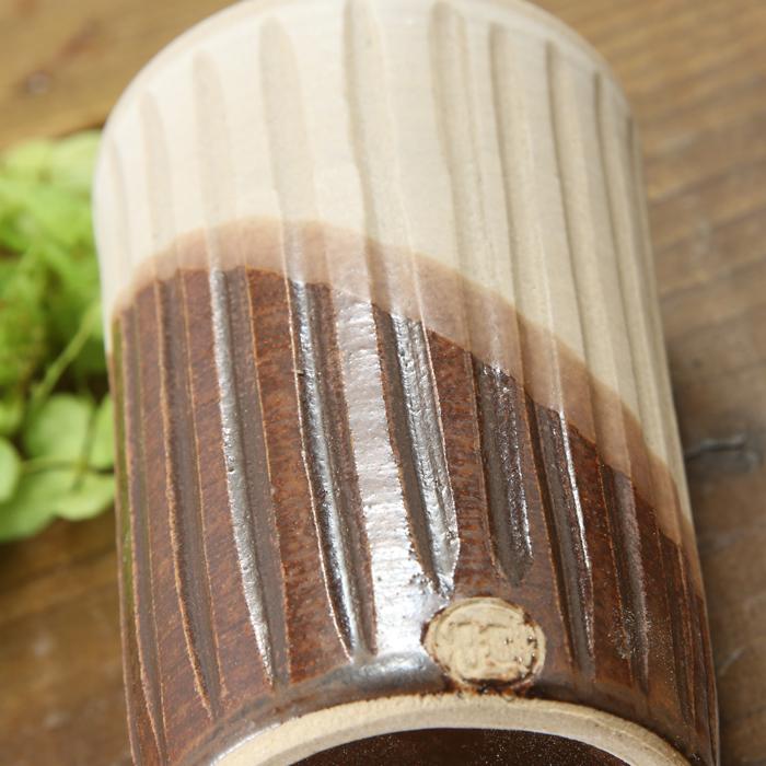【益子焼】釉シリーズ 寸胴 しのぎ 細めな タンブラー フリーカップ  【サイズ小・単品1個】