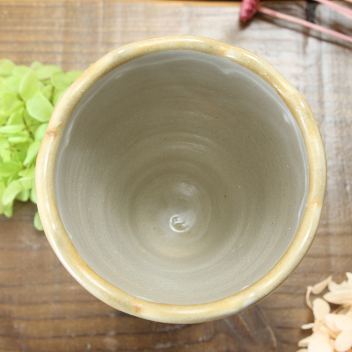 【益子焼】釉シリーズ 縁をカットした洋風デザイン 2種釉薬のいっちんシャンパンカップ ワインカップ シャンパングラス 【単品1個】