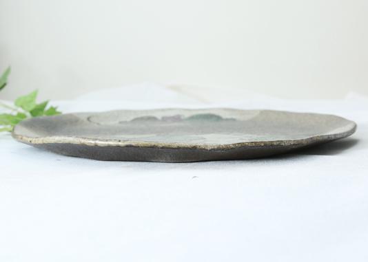【益子焼】 フラットなミニピザ皿25cm【布目ぶどう・単品1枚】