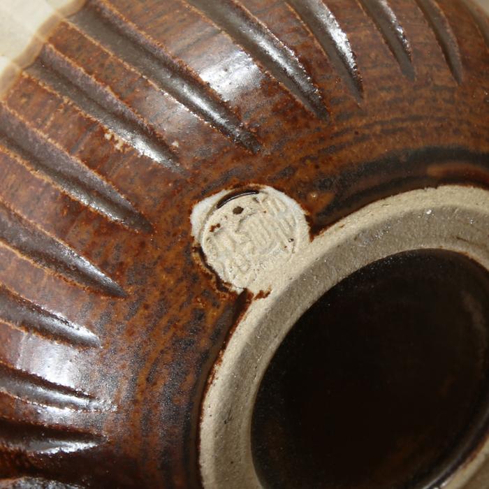 【益子焼】釉シリーズ しのぎ コロンっと丸い可愛いマグカップ  【単品1個】