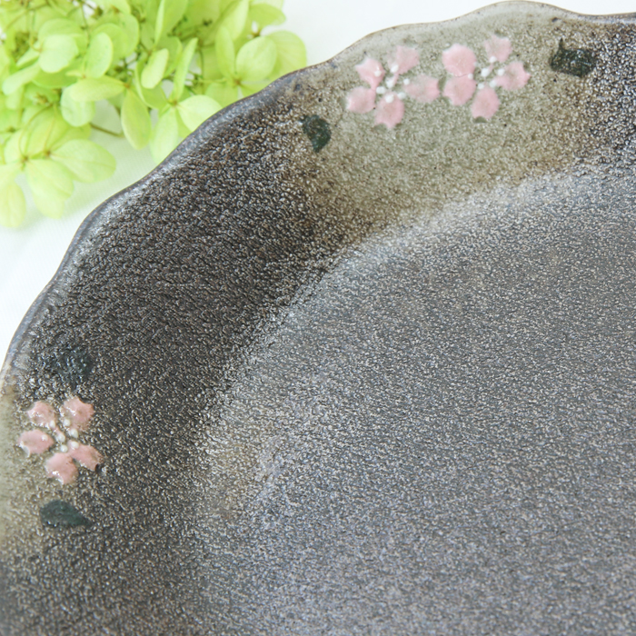 【益子焼】縁がポコポコ深さのあるパスタ皿22cm【さくら模様・単品1枚】