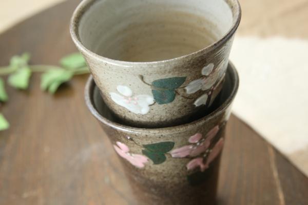 【益子焼】フリーカップ サイズ中 【花水木模様・単品1個】