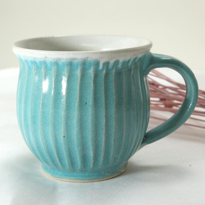【益子焼】釉シリーズ 丸くふっくら 縁が開いた 大きめしのぎマグカップ 【ターコイズブルー・内ホワイト・単品1個】
