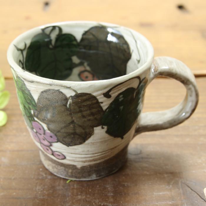 【益子焼】炭化焼シリーズ 白化粧ぶどう コーヒーカップ&ソーサー 【小さめソーサー・単品1客】