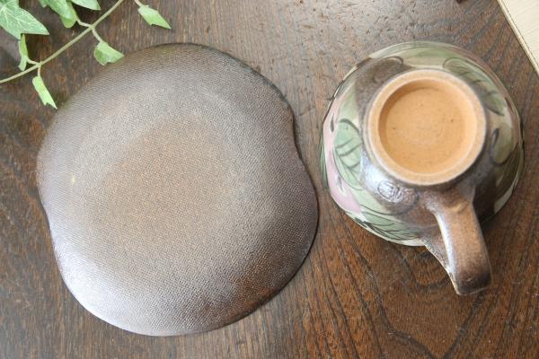 【益子焼】コーヒーカップ&ソーサー お手頃なサイズ 開いた形 【優しい風合いのつばきシリーズ・単品1客】