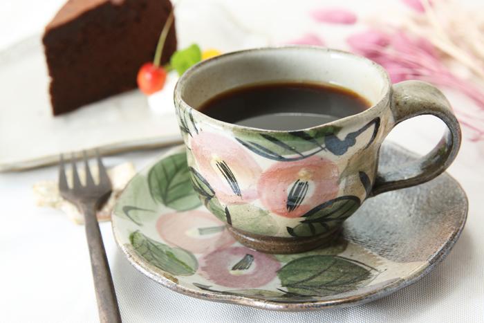 【益子焼】コーヒーカップ&ソーサー お手頃なサイズ 段形のカップ 【優しい風合いのつばきシリーズ・単品1客】