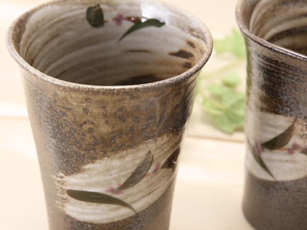 【益子焼】刷毛目つゆ草のフリーカップ【単品1個】
