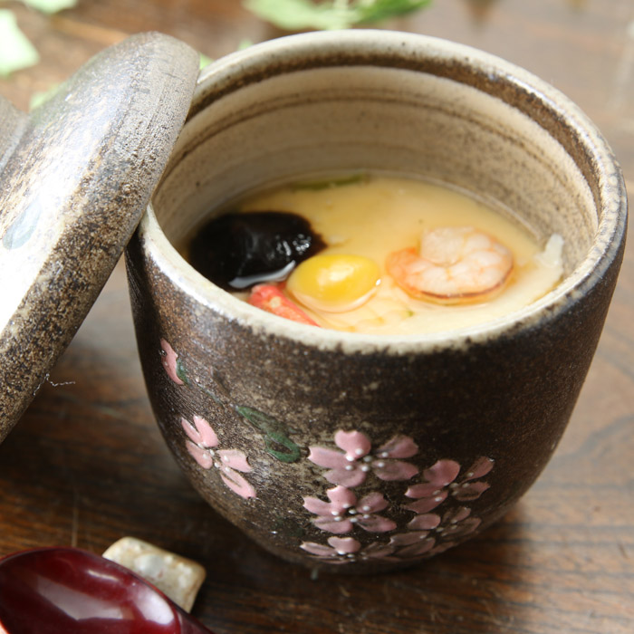 【益子焼】 和食器 茶碗蒸し 器 大きめ たっぷり さくら桜 炭化焼 本体と蓋付き ※ソーサーは別売です