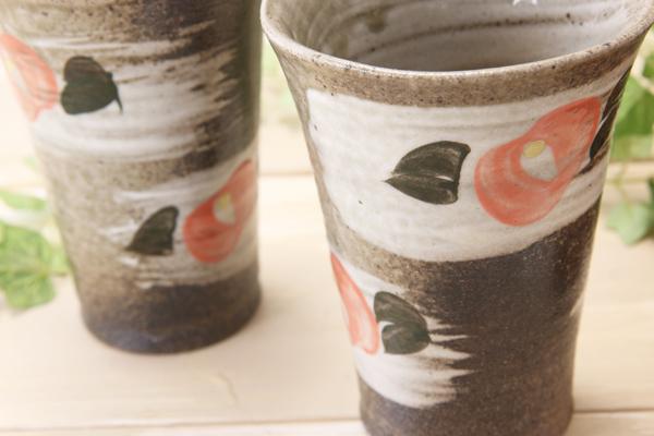 【益子焼】朱色椿のフリーカップ【サイズ大・単品1個】