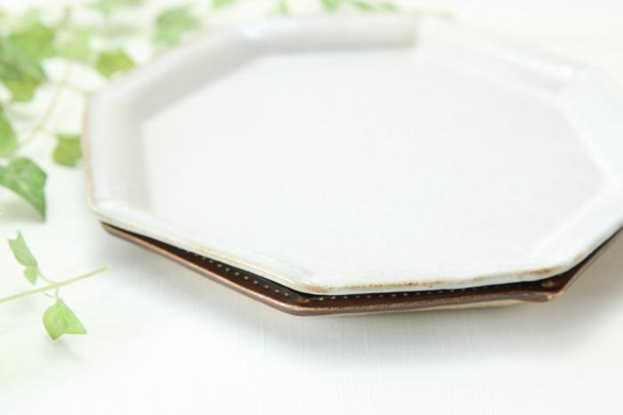 【益子焼】釉シリーズ☆いっちんドット柄の八角プレート19.5cm【サイズ中・単品1個】
