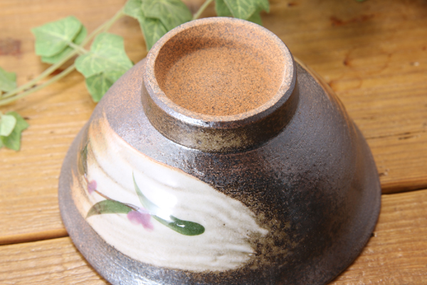 【益子焼】刷毛目つゆ草のご飯茶碗【開いた形・サイズ中・単品1個】