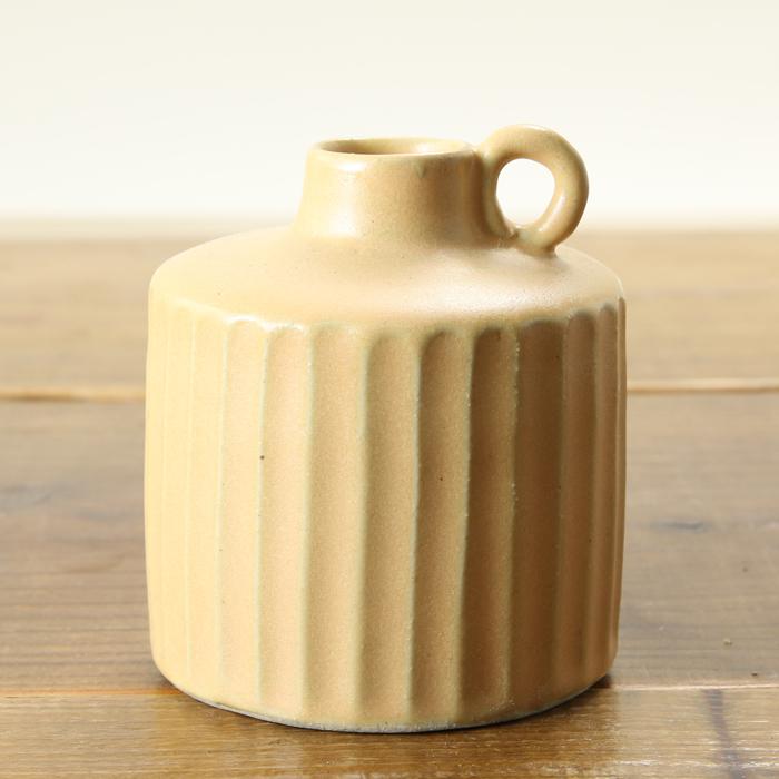 【益子焼】 釉薬シリーズのしのぎ一輪挿し【サイズ小】 花器 花瓶 花びん 花生け 花活け  1点もの 輪っか付き イエローマット 素朴な陶器の一輪挿し