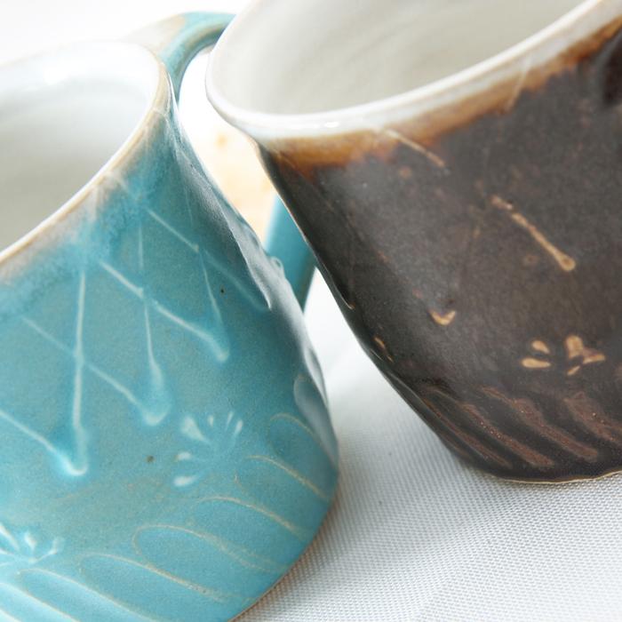 【益子焼マグカップ】しのぎ&いっちん柄の2種釉薬のマグカップ【単品1個】