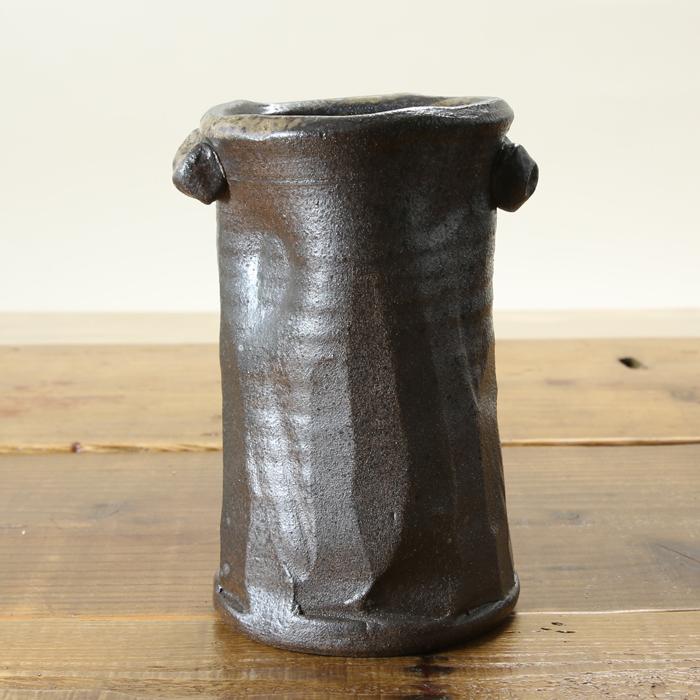 【益子焼】 花瓶 花器 フラワーベース 炭化焼無地 変形筒花入れ 筒花瓶 一点物 【単品1個】