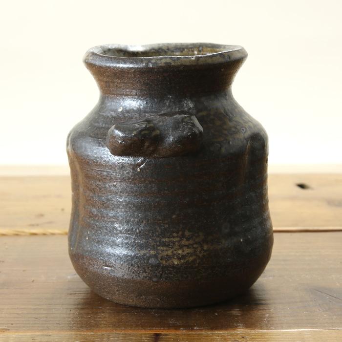 【益子焼】 花瓶 花器 フラワーベース 炭化焼無地 壺風の手付き花入れ 一点物 【単品1個】