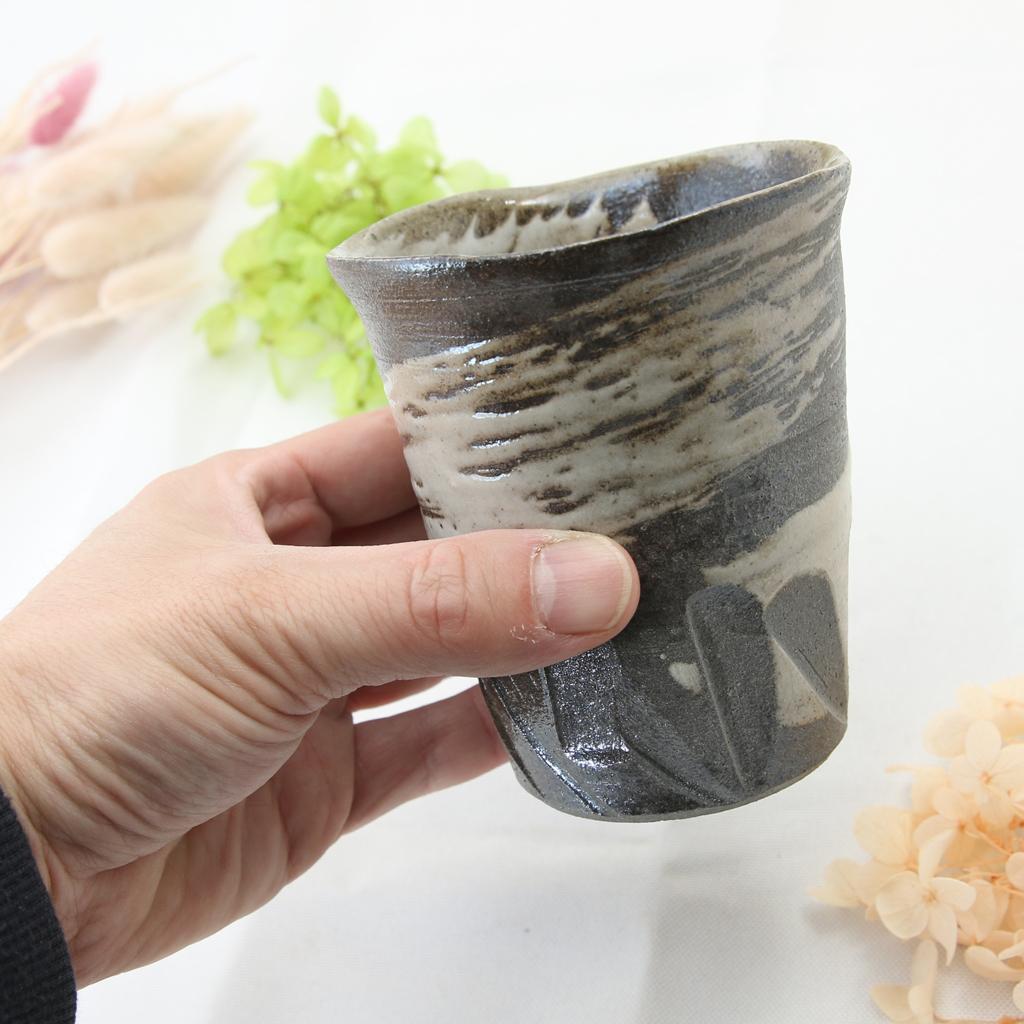 【益子焼】 タンブラー フリーカップ ビールカップ 荒々しい しのぎ 刷毛目 炭化焼シリーズ お手頃サイズ 単品1個