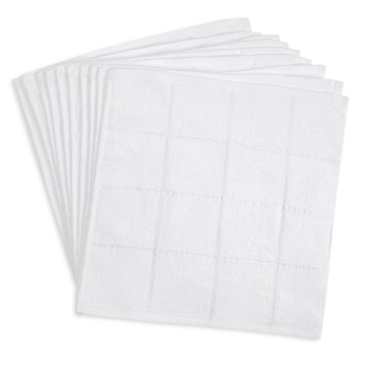 80匁 おしぼりタオル白 4×4格子