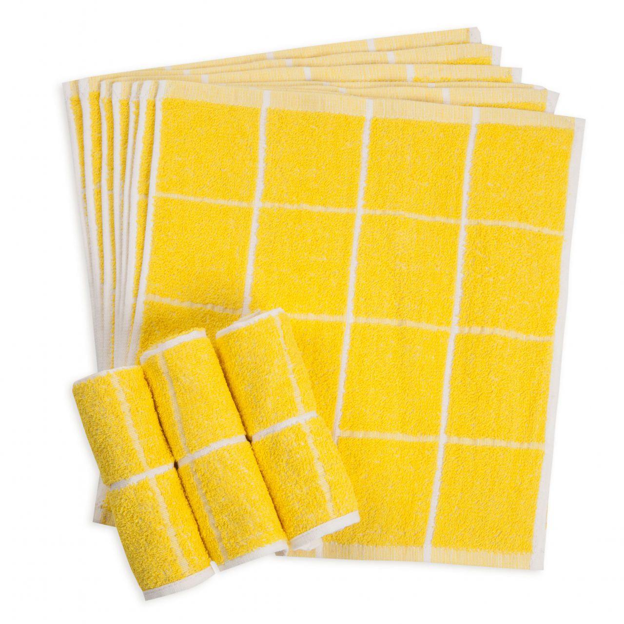 80匁 おしぼりタオル黄4×4格子