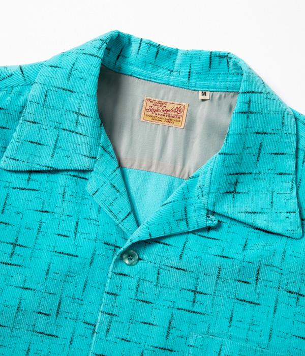 "Lot No. SE28536 / Mid 1950s Style Corduroy Sports Shirt ""SPLASHED PATTERN"""