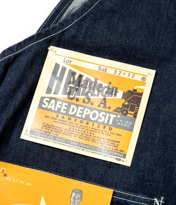 "Lot No. HD41959  / HEADLIGHT ""Made in USA"" NOS 12oz. CONE DENIM OVERALLS"