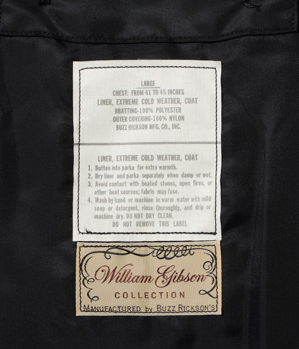 Lot No. BR14976 / WILLIAM GIBSON COLLECTION Type BLACK M-65 LINER