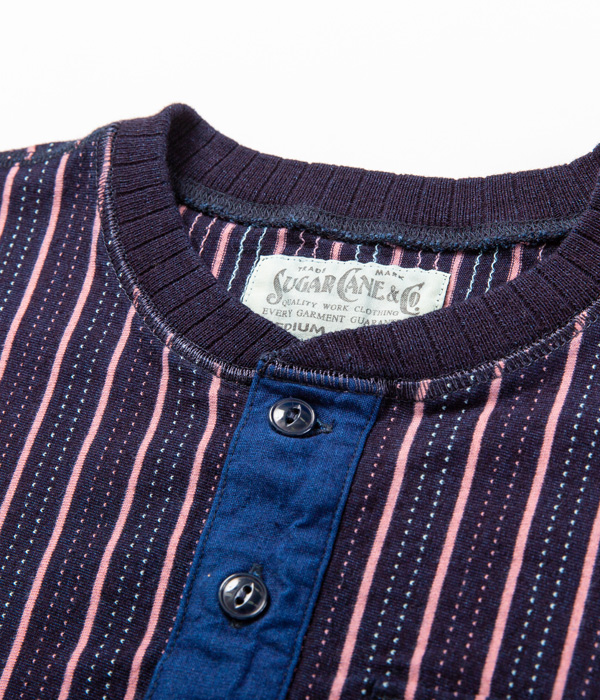 Lot No. SC78531 /  INDIGO DOBBY STRIPE POCKET T-SHIRT