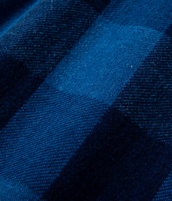 Lot No. SC14779 / FICTION ROMANCE 9oz. INDIGO BUFFALO CHECK ZIP SHIRT
