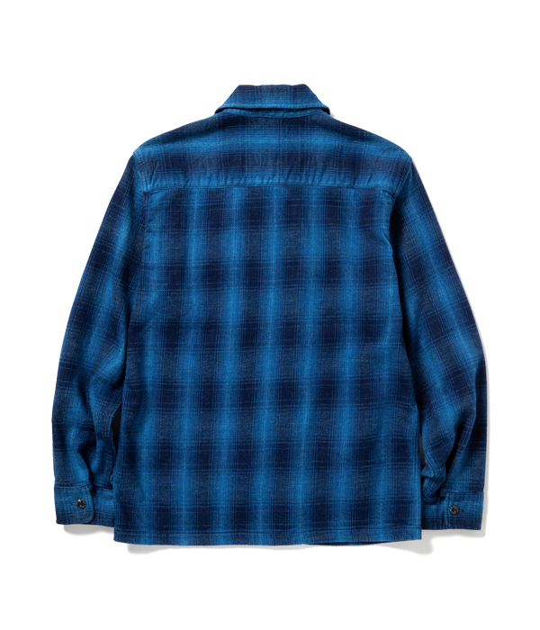 Lot No. SC14780 / FICTION ROMANCE 9oz. INDIGO OMBLE CHECK ZIP SHIRT