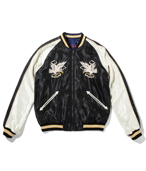 "Lot No. TT14650-119 / Mid 1950s Style Acetate Souvenir Jacket ""WHITE EAGLE"" × ""DUELLING DRAGONS"""