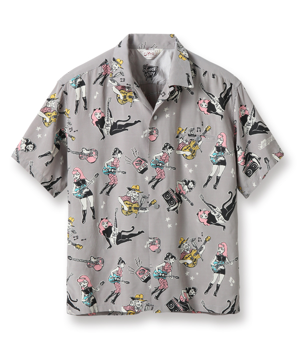 "Lot No. SH38375 / HIGH DENSITY RAYON OPEN SHIRT ""GIRLS 'N' GUITARS"" by VINCE RAY"