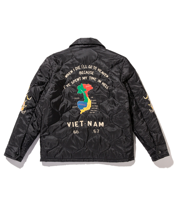 "Lot No. TT14655-119 / Mid 1960s Style Vietnam Liner Jacket ""VIETNAM MAP"" (BLACK)"