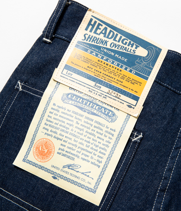 Lot No. HD41883  / HEADLIGHT 9.5oz. BLUE DENIM LATE 1940's DUNGAREES