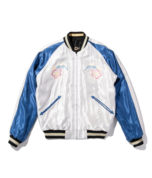 "Lot No. TT14813-119 / Mid 1950s Style Acetate Souvenir Jacket ""ROARING TIGER"" × ""LANDSCAPE"""