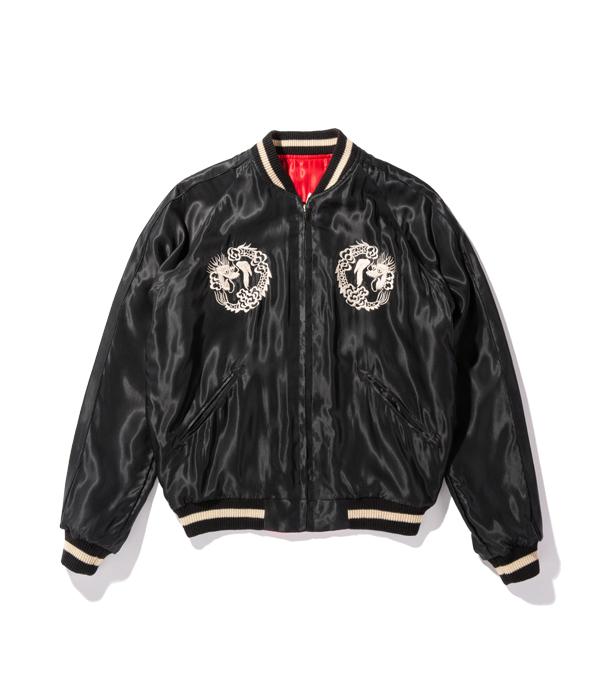 "Lot No. TT14813-165 / Mid 1950s Style Acetate Souvenir Jacket ""TIGER HEAD"" × ""WHITE DRAGON"""