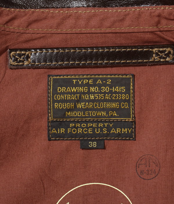 """Lot No. BR80593 / Type A-2 """"CONTRACT No. W535 AC-23380 ROUGH WEAR CLOTHING CO."""""""