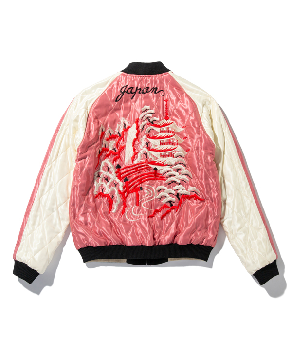 """Lot No. TT14652-119 / Mid 1950s Style Velveteen Souvenir Jacket """"DUELLING DRAGONS"""" × """"LANDSCAPE"""""""