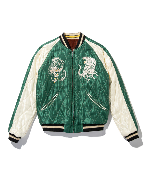 "Lot No. TT14652-138 / Mid 1950s Style Velveteen Souvenir Jacket ""ROARING TIGER"" × ""WHITE EAGLE"""