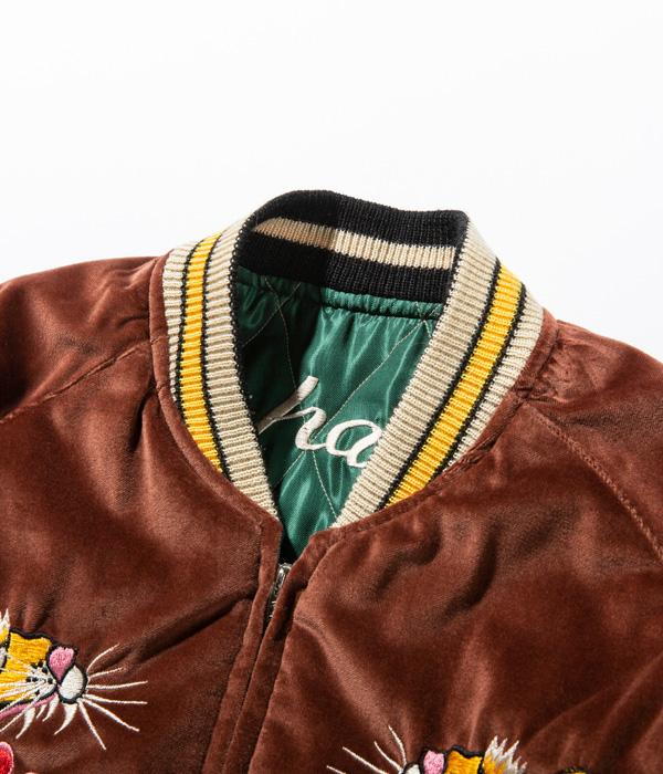 "Lot No. TT14652-138 / Mid 1950s Style Velveteen Souvenir Jacket ""ROARING TIGER"" × ""WHITE EAGLE"""