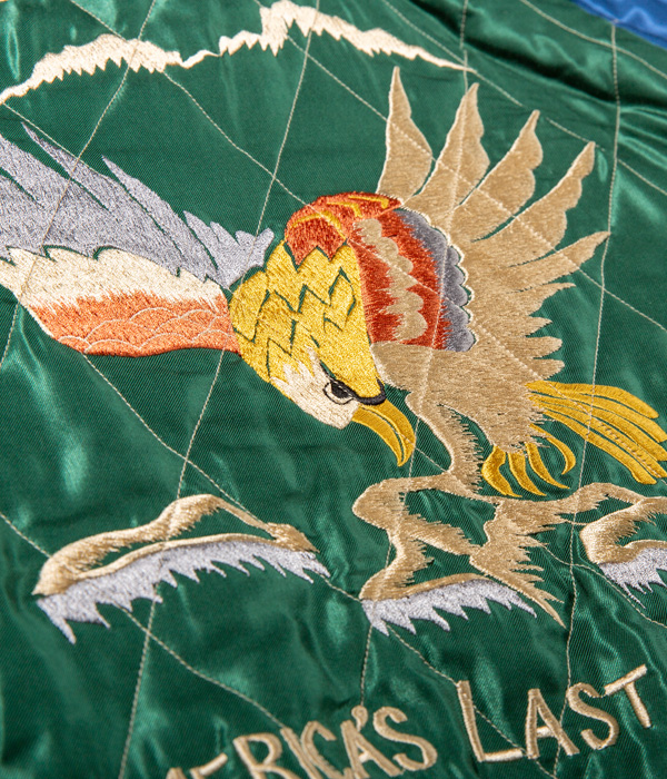 "Lot No. TT14651-119 / Late 1950s Style Acetate Quilted Souvenir Jacket ""MOUNTAIN GOAT"" × ""EAGLE"""