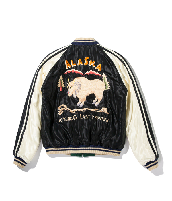 """Lot No. TT14651-119 / Late 1950s Style Acetate Quilted Souvenir Jacket """"MOUNTAIN GOAT"""" × """"EAGLE"""""""