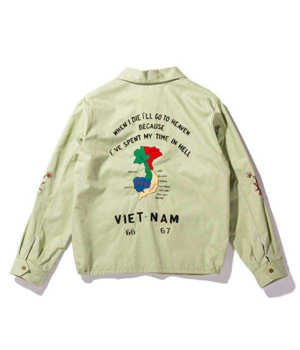"Lot No. TT14815-141 / Mid 1960s Style Cotton Vietnam Jacket ""VIETNAM MAP"" (MINT GREEN)"