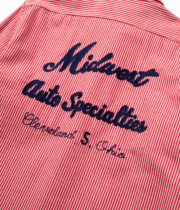 Lot No. SC28543 / HICKORY STRIPE WORK SHIRT with EMBROIDERED
