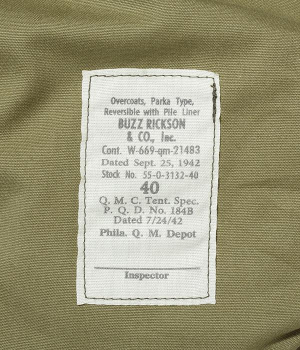 "Lot No. BR14866 / OVERCOATS, PARKA TYPE, REVERSIBLE ""BUZZ RICKSON & CO., INC."""