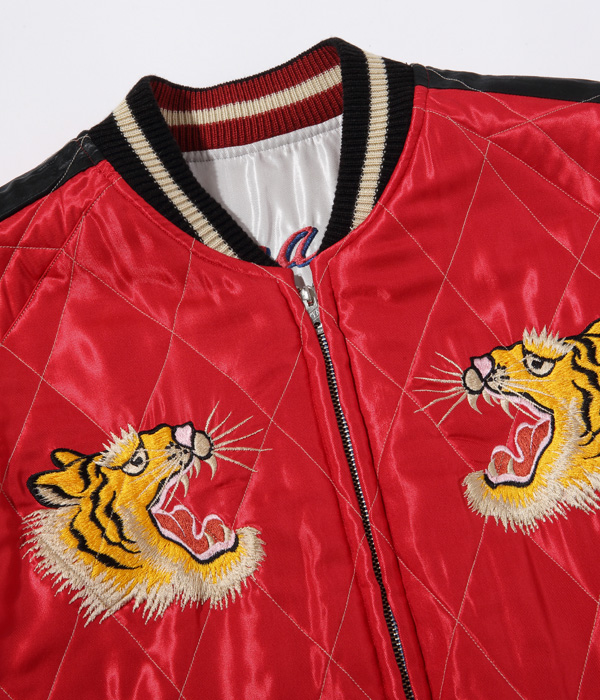 """Lot No. TT14893-190 / Early 1950s Style Acetate Quilted Souvenir Jacket """"EAGLE & DRAGON"""" × """"ROARING TIGER"""""""