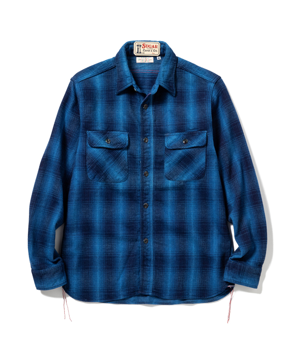 Lot No. SC28519 / FICTION ROMANCE 9oz. INDIGO OMBLE CHECK WORK SHIRT with MARBLE BUTTON