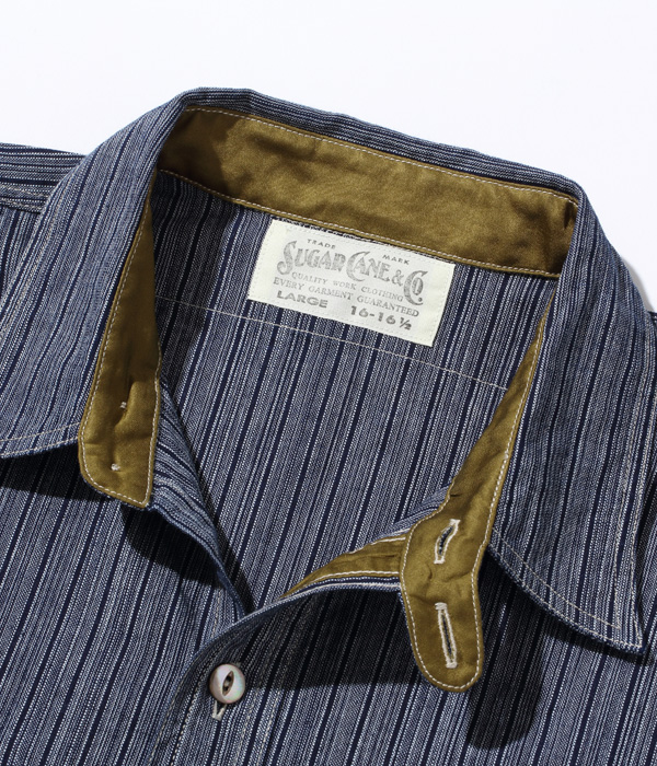 Lot No. SC28650 / FICTION ROMANCE 5oz. INDIGO STRIPE WORK SHIRT