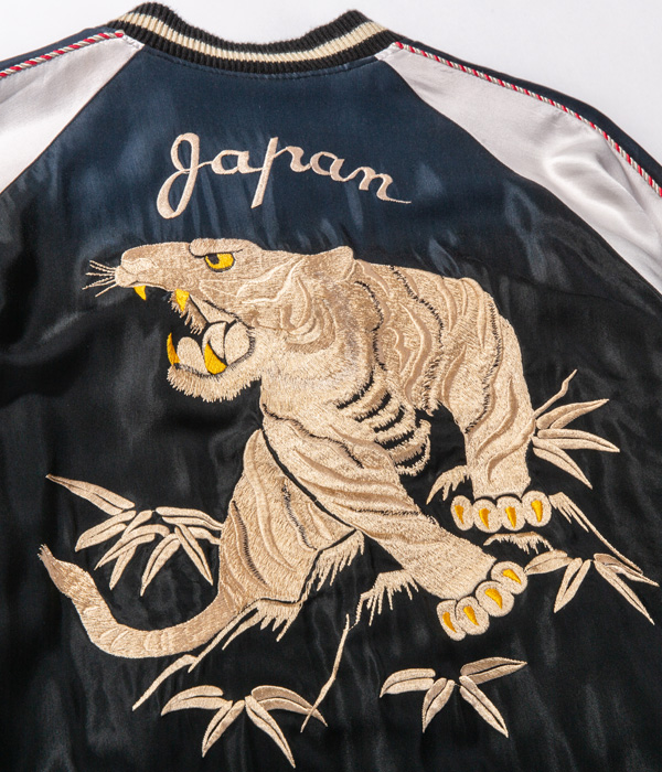 "Lot No. TT14814-119 / Early 1950s Style Acetate Souvenir Jacket ""WHITE TIGER"" × ""JAPAN MAP"" (AGING MODEL)"