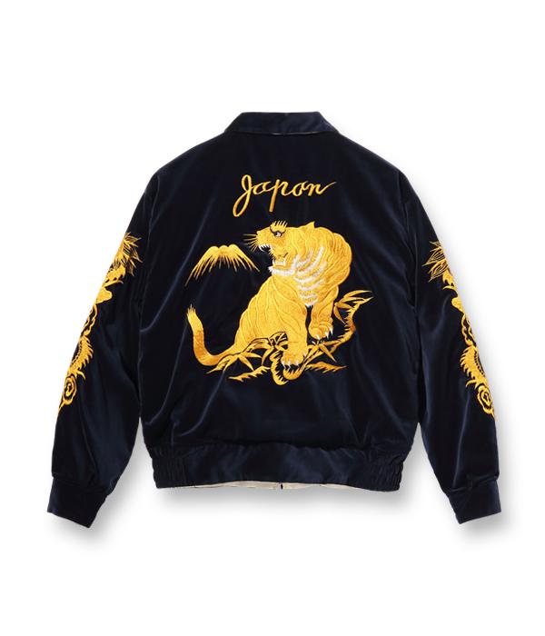 "Lot No. TT14973-128 / Mid 1950s Style Velveteen × Acetate Souvenir Jacket ""KOSHO & CO."" Special Edition ""GOLD TIGER"" × ""WHITE EAGLE"""