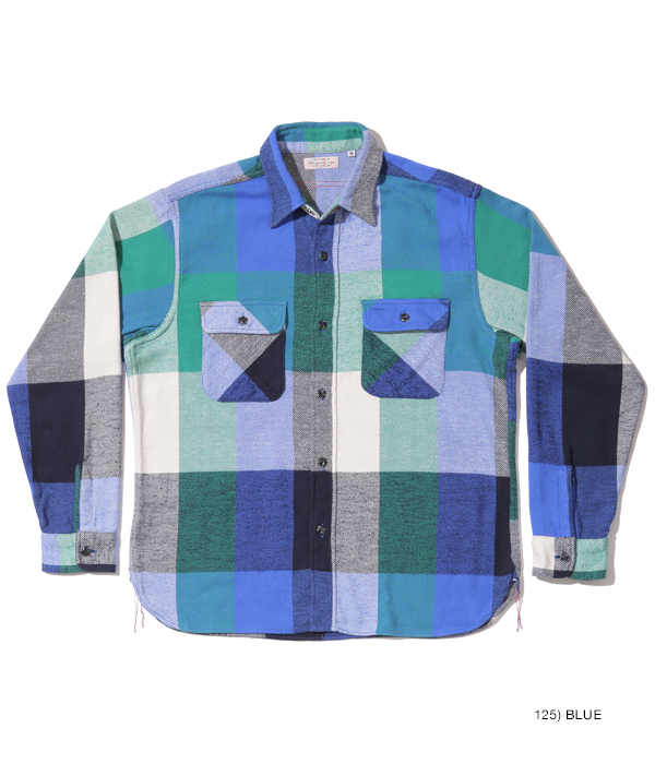 Lot No. SC28751 / FICTION ROMANCE 8.5oz. COLORFUL CHECK WORK SHIRT with MARBLE BUTTON